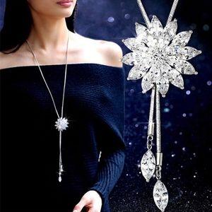 Gorgeous Long Chain Rhinestone Snowflake Necklace
